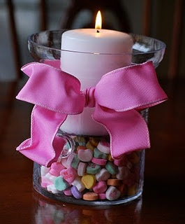 Valentine Hurricane Decoration.   So pretty and simply. What a great idea for a decoration at a dinner or dance!
