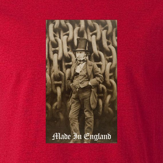 Patriotic Made in England t shirt featuring that great British engineering icon Isambard Kingdom Brunel. Perfect gift for an engineer, patriot, steam punk lover or a fan of all things British. £11.99 shipped internationally by Edify Clothing. Design © Edify Clothing