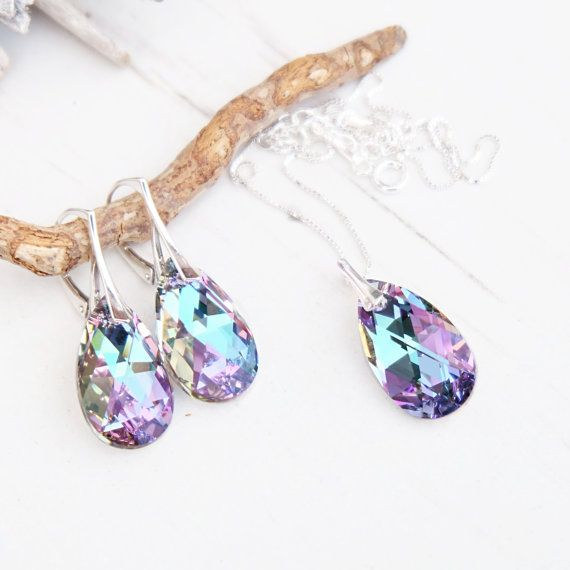 Today's Featured #etsy Seller:  Sterling Silver Swarovski Earrings Necklace Set-Swarovski Crystal… LIMITED SUPPLY #etsyseller #jewellery