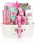 Mothers Day Gift Idea Spa Gift Basket English Rose By Lovestee-Bath and Body Gift Basket Gift Box Includes Shower Gel Sensual Body Lotion Hand Lotion Bath Salt Bath-Body Sponge and EVA Sponge