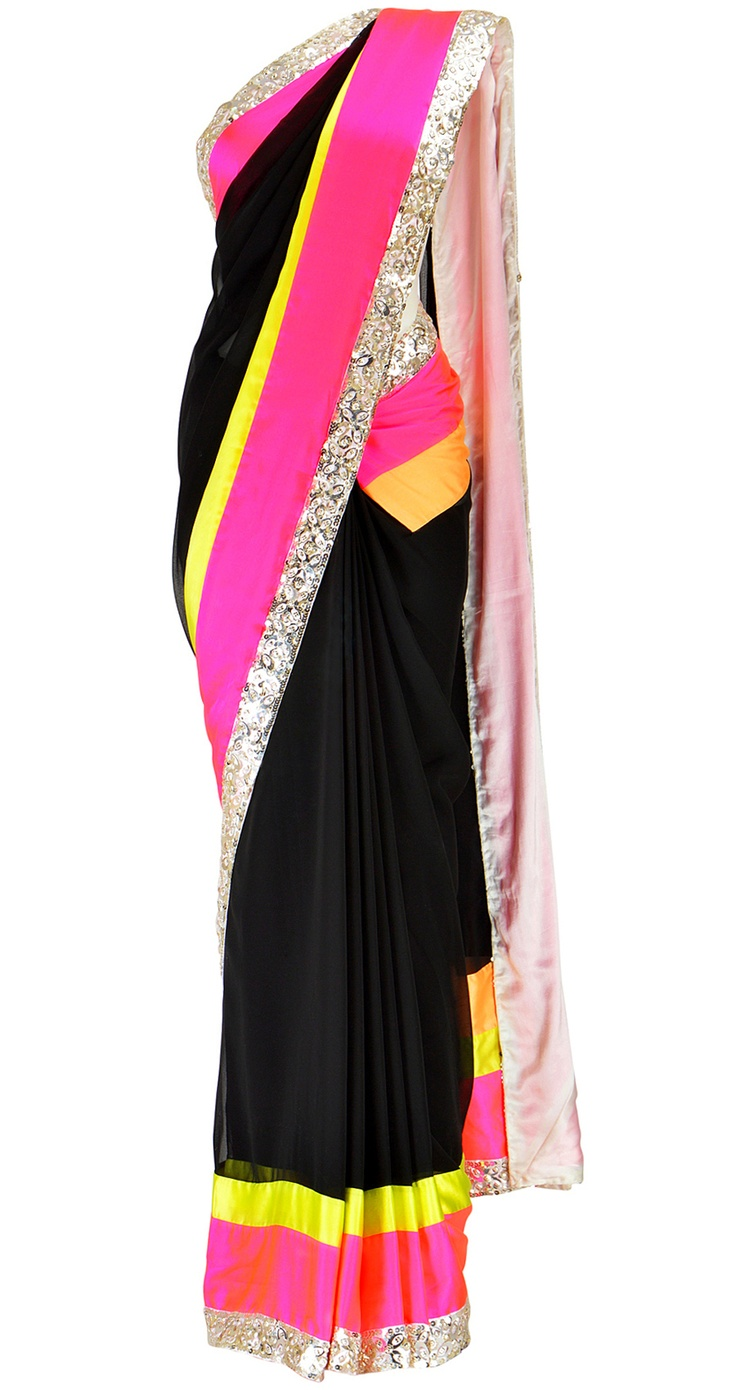 Neutrals and neons. Abu Jani and Sandeep Khosla have done it again! Get this sari at https://www.perniaspopupshop.com/clothing/all/abu-jani-and-sandeep-khosla-16  #neon #sari #abujani #sandeepkhosla approximately $440