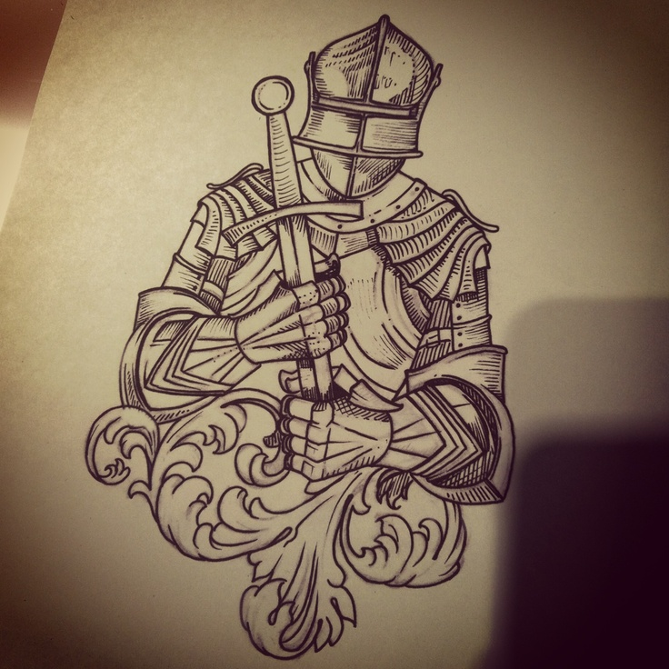 This one was from a couple days ago, couldn't get a great picture.   #victorianknight #tattoo #illustrative #knight
