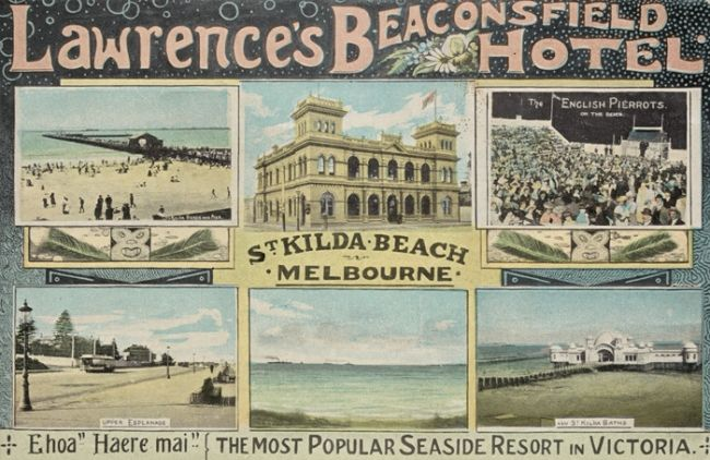Lawrence's Beaconsfield Hotel, St Kilda Beach Melbourne between 1900-1930 (unknown.