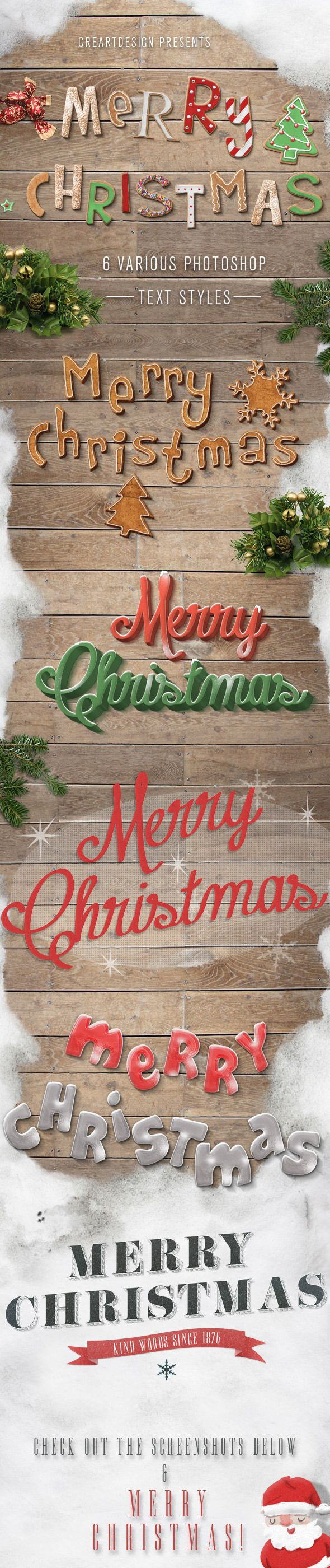 Make your Christmas more colorful! This pack contains 6 text effect that you can easily change . Just a few clicks and you can replace the text, adjust the style. The Pack is not only includes the styles of text, but also includes pre-made backgrounds, those that you can see at screenshot.