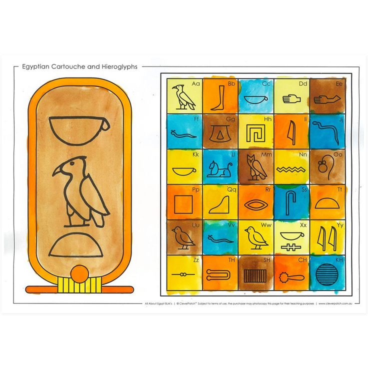 Our free Egyptian Cartouche and Hieroglyphs blackline master teaches children important skills like colouring, cutting and creative thinking as well as teaching them about the Egyptian alphabet of Hieroglyphs.