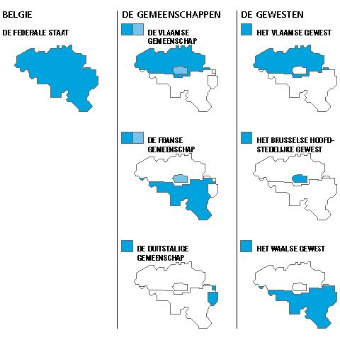 Administratieve kaart van België.