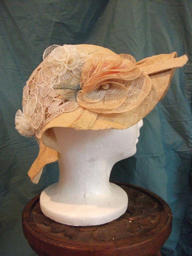 Straw hat with straw flowers.