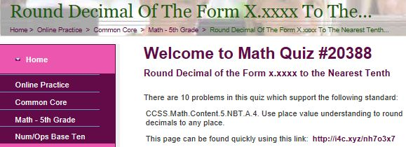 """This is an image from this resource on the Internet4Classrooms' """"Fifth Grade Interactive Math Skills - Decimals"""" resource page:    Round Decimal of the Form x.xxxx to the Nearest Tenth.    Online quiz that is self checking."""