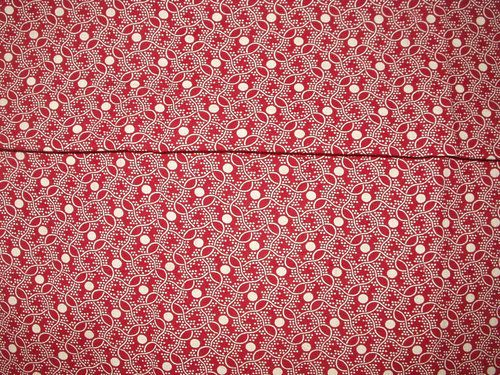 Antique Early 1900s Maroon White Calico Fabric Yardage Suitable For Quilt Crafts