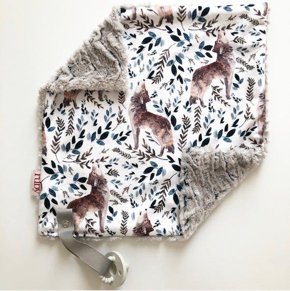Baby Minky Lovey or Car Seat Blanket Wild Wolf Deer and Bear Minky Baby Blanket for Rustic Woodland Nursery Embroidered Crib Blanket
