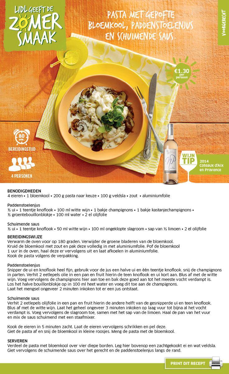 Pasta met gepofte bloemkool, paddenstoelenjus en schuimende saus - Lidl Nederland