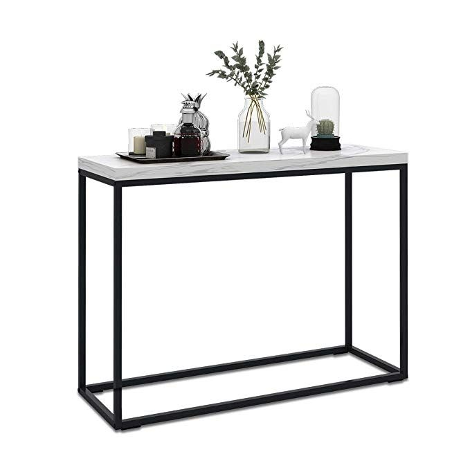 Wlive Modern Console Table For Entryway Faux Marble Print Top Narrow Foyer Hall Table With Metal Fr Modern Console Tables Entryway Console Table Console Table