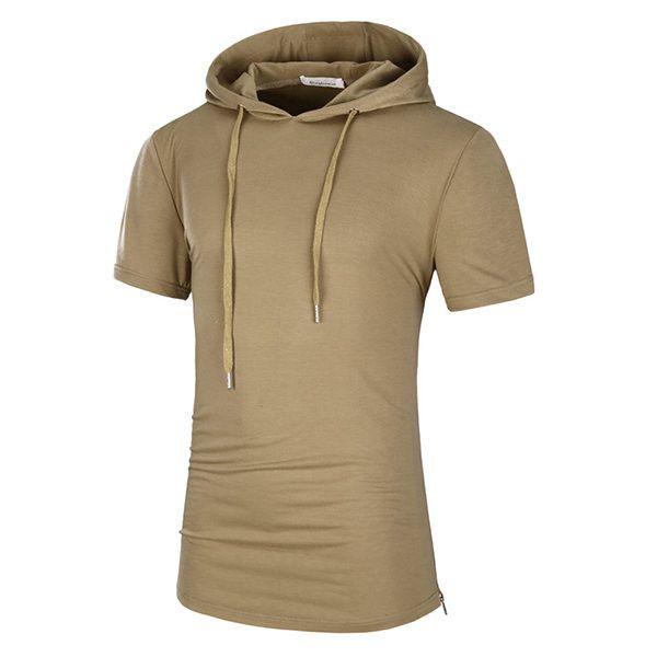 Mens Casual Hooded T-shirt Drawstring Mid Long Regular Fit Fashion Top Tees