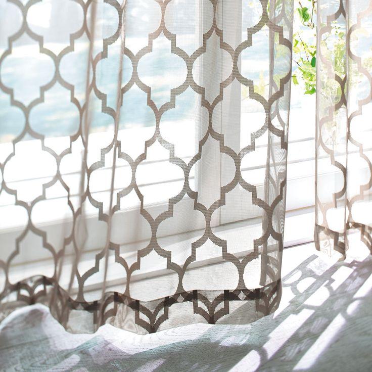 モロッコタイル柄レースカーテン (イージーオーダー)(1枚) 写真1