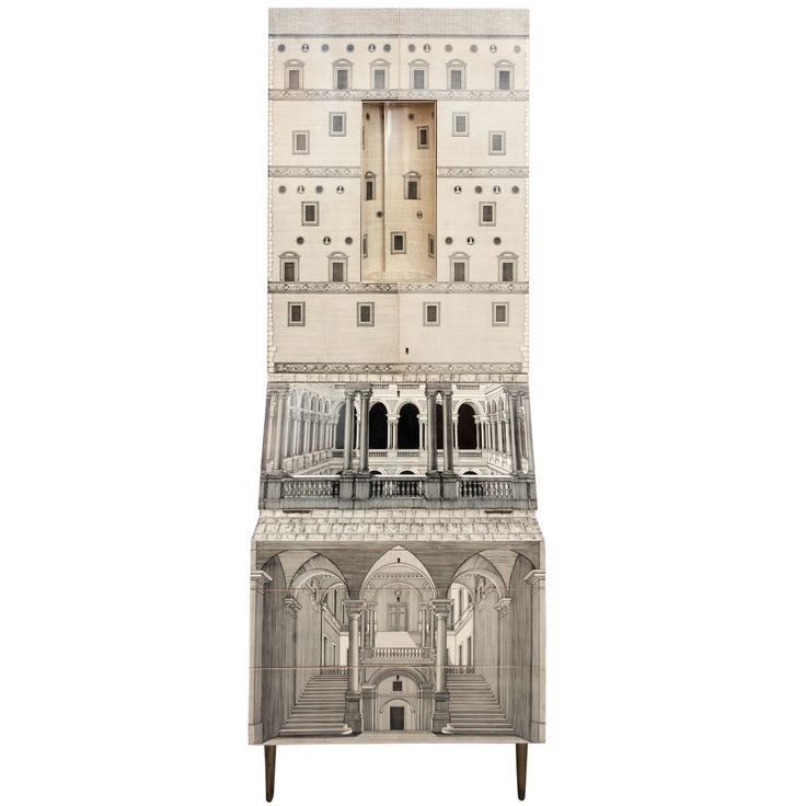 A Rare and Early Trumeau by Piero Fornasetti, Collaborating with Gio Ponti. | From a unique collection of antique and modern secretaires at http://www.1stdibs.com/furniture/storage-case-pieces/secretaires/