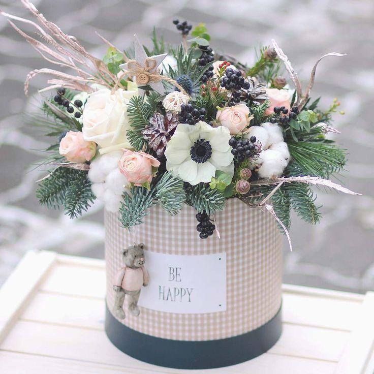 Be happy❄ #bouquet #flowers #flora #floristic #botany #behappy #flowerbox #winter #frosty #december #bear #pink #pastel #firtree #anemone #rose #cotton #berries #eringium #decor #decoration #design #lathyruslavka