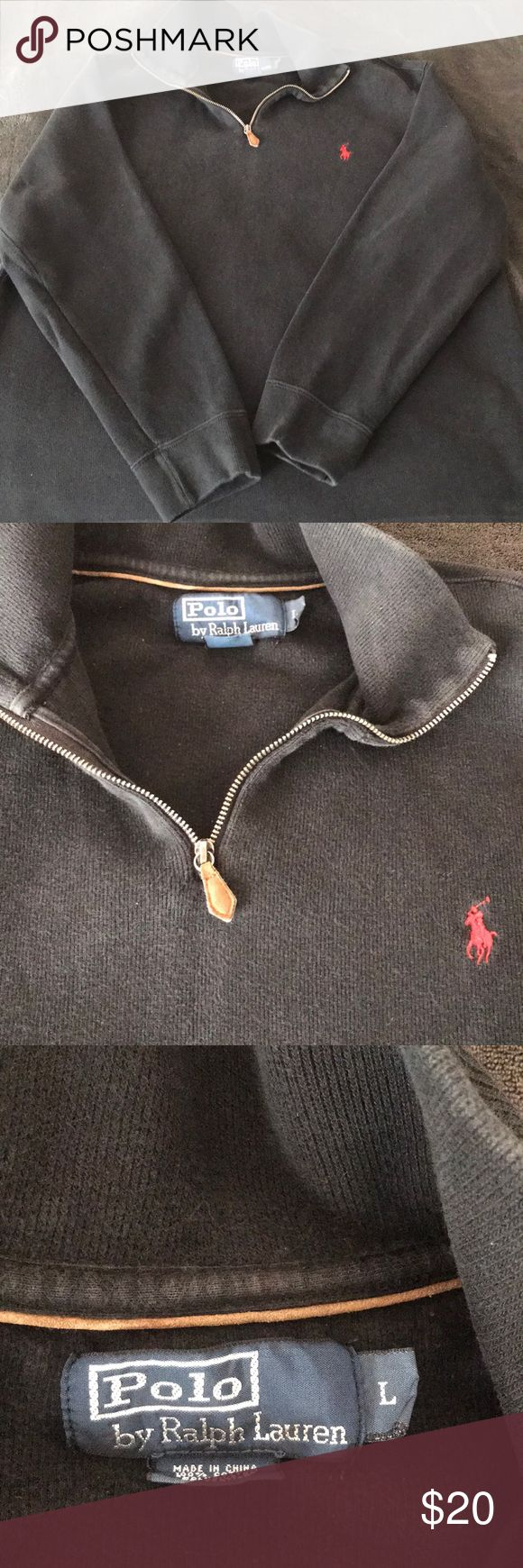 Polo Ralph Lauren Pullover Polo Ralph Lauren Black Pullover  Size Large Slight fading Polo by Ralph Lauren Sweaters Zip Up