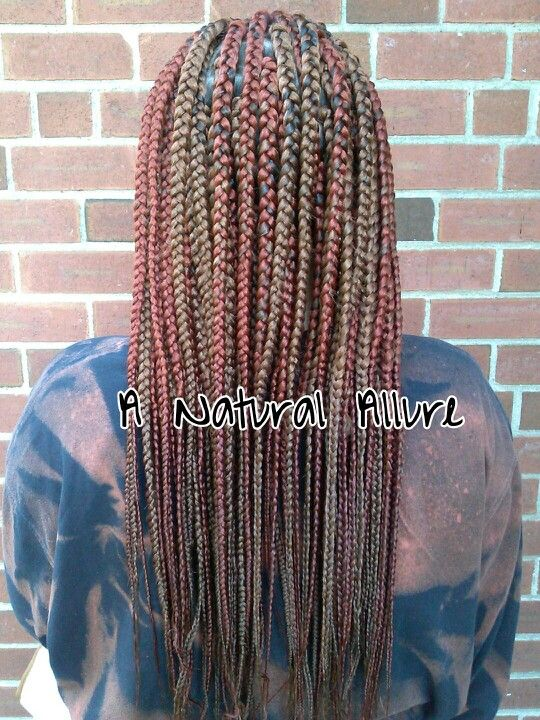 Box braids in colors 27 and 350 with Xpression braiding hair wwwanaturalallurecom  A