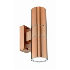 Brilliant 35W Copper Coolum Up Down Exterior Wall Light