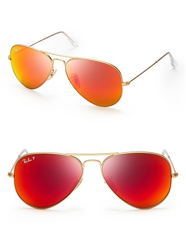 Ray-Ban Polarized Mirrored Aviator Sunglasses | Bloomingdale's