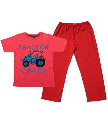 Children's Red T-Shirt & Red Long Pants Pyjama Set 'TRACTOR CRAZY (DESIGN 2)' with Royal Blue & Black Print.