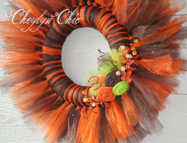 tulle wreaths | Orange and Brown Fall Theme Tulle Tutu Wreath