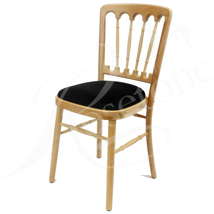 Natural Bentwood Wedding Chair with Black Seat Pad