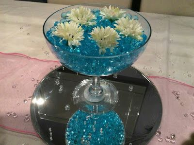 más y más manualidades: Crea un centro de mesa usando una copa y un espejo