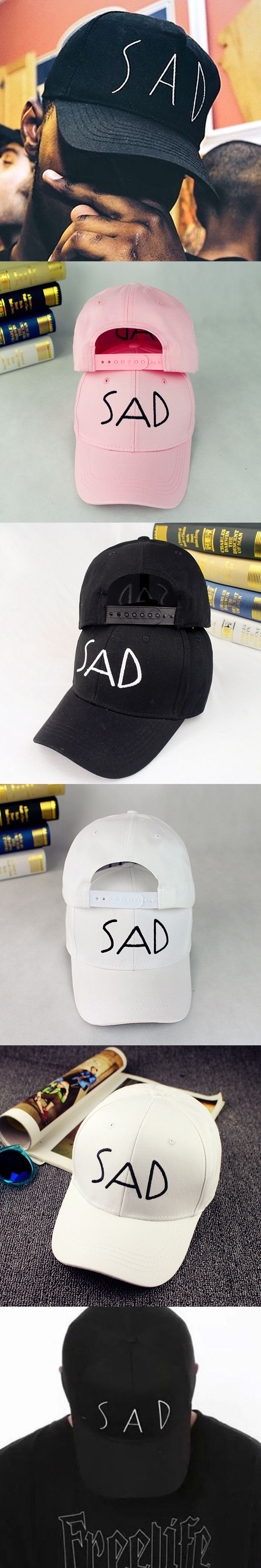 New baseball cap male woman pure color SAD letter embroidered cap leisure hat