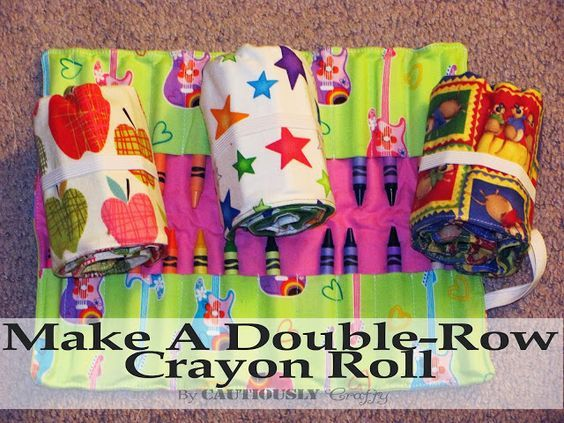 Cautiously Crafty: Crayon Roll Tutorial for 24 crayons with step by step pictures