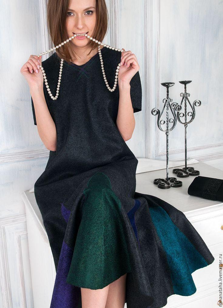 """Купить Валяное платье """"Юная декадентка"""" - черный, подарок женщине, необычный силуэт, бохо"""