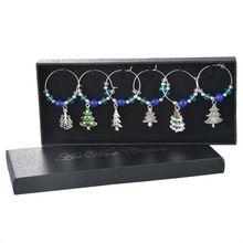 1 doos kerst tafel decoratie blauwe kralen kristal kerstboom emaille hanger wijnglas charmes voor bruiloft en feest(China (Mainland))
