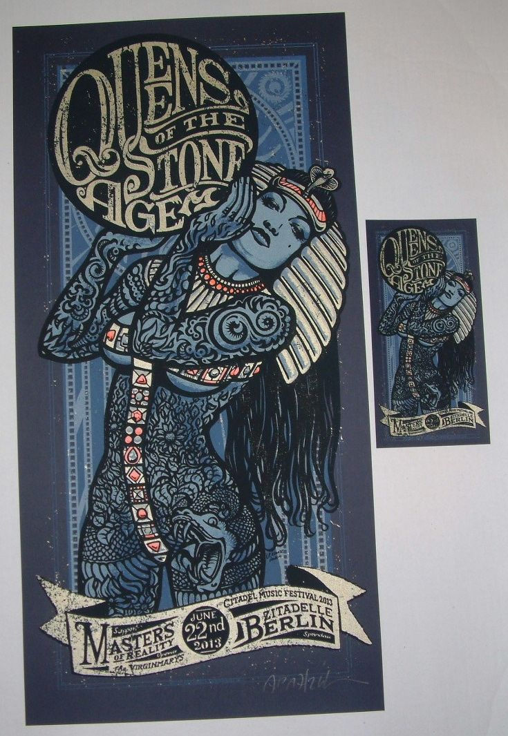 Queens of the Stone Age Berlin Tour Poster Lars P. Krause S/N 2013 Blue AP with Hand Bill handbill for sale buy purchase concert print