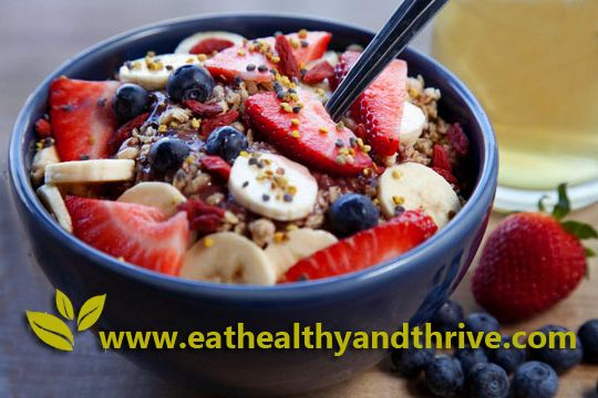 Acai Bowl Recipe - 1 pack of frozen Acai Berry 1/2 cup apple juice (substitute almond or coconut milk if you prefer) 1/2 frozen ripe banana 7-8 sliced strawberries 1/2 sliced banana (fresh) Blueberries 1/4 cup Granola *Optional: unsweetened coconut flakes, Goji berries, sliced fruit, chia seeds