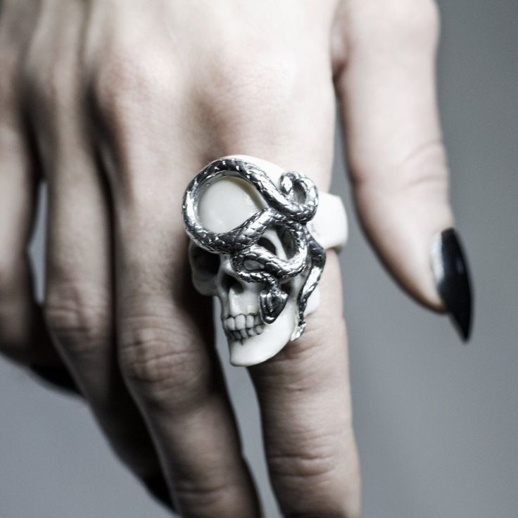 SKULL & SNAKE ring by Macabre Gadgets   MARBLE & SILVER