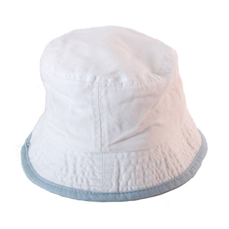 Sun hat- White w Blue Piping - Hats, Caps & Beanies - Baby Belle