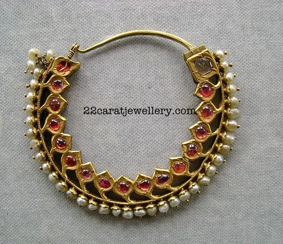 nath -Ruby Traditional Choker Necklace Set with Pearls ~ Jewellery Designs