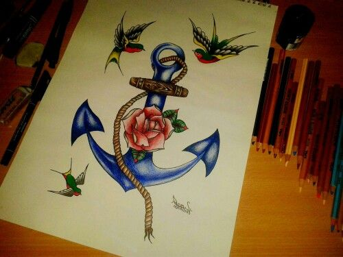 Anchor, rose...