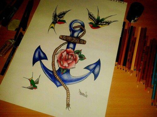 Anchor, rose...