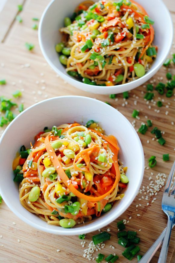 "Sweet & Spicy Sesame Noodles - very yummy flavor!   (the ""edamame"" in recipe is simply cooked green soybeans that seem to be so popular these days)"