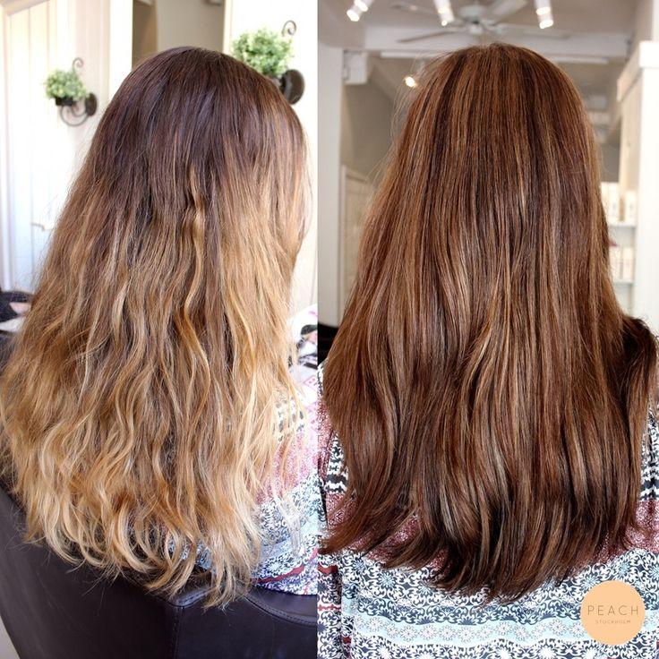 Brun hårfärg med slingor och varma skiftningar