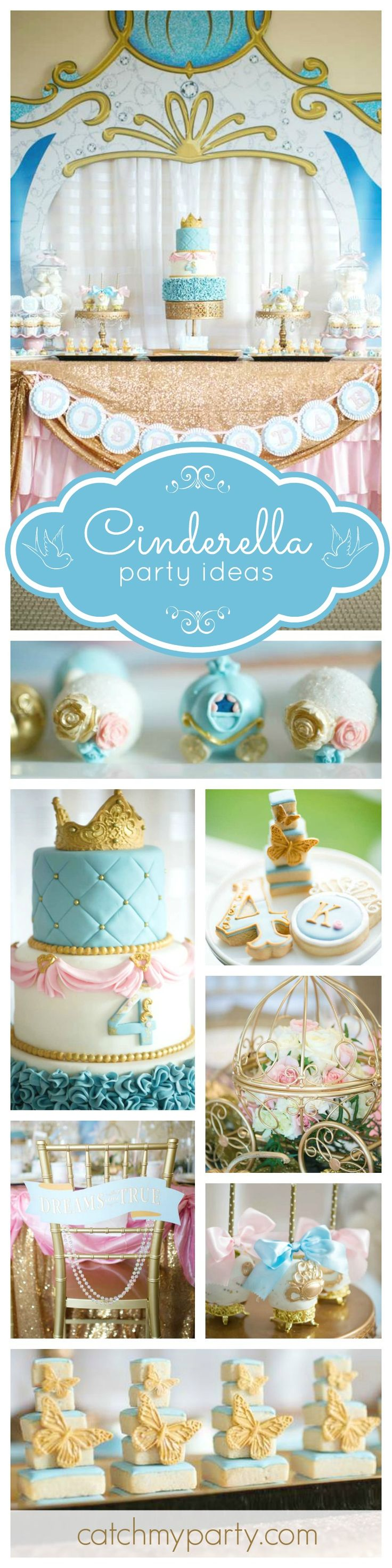 A dream come true Cinderella Birthday party. All the desserts are stunning! The attention to detail is mind blowing! Just look at the ting carriage cake pops! Wow! See more party ideas at CatchMyParty.com