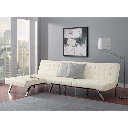 Elegant White Leather Futon Chaise Lounge Tufted Sofa Bed Sleeper Sectional Set Modern
