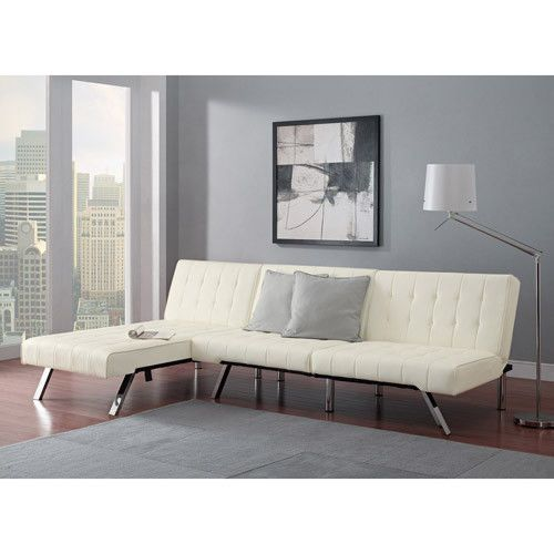 White Leather Sectional Sofa Bed: Elegant White Leather Futon Chaise Lounge Tufted Sofa Bed