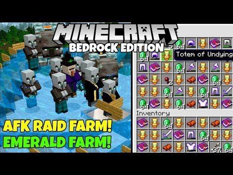 Minecraft Bedrock: Fully AFK RAID FARM! 1,400 Emeralds/Hr