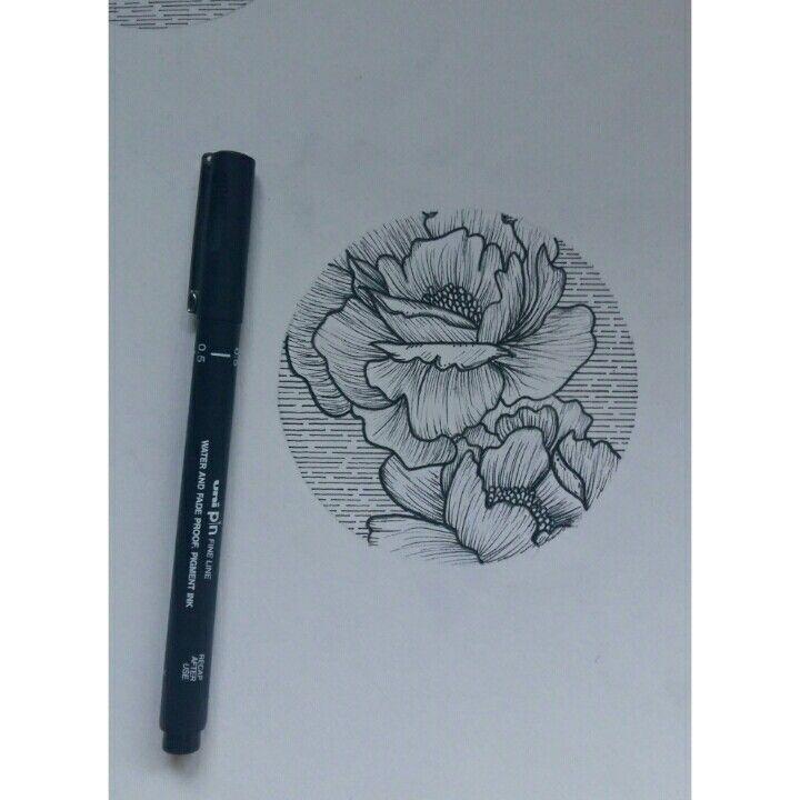 Peony line work tattoo