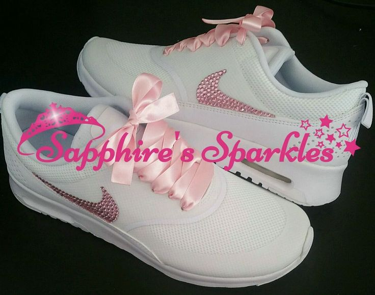 Adult Customised Crystal Baby Pink White Nike Thea Trainers Size 3 4 5 6 7 8 in Kleidung & Accessoires, Damenschuhe, Turnschuhe & Sneaker | eBay