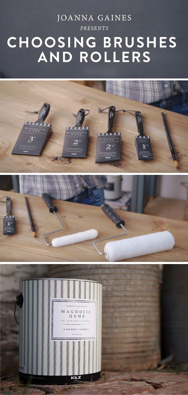 Every DIY home improvement project is easier when you have the right supplies. Designer Joanna Gaines teaches you how to choose the right paint brushes and rollers for the job. Magnolia Home by Joanna Gaines™ Paint offers a line of premium paint brushes to make every project a breeze.