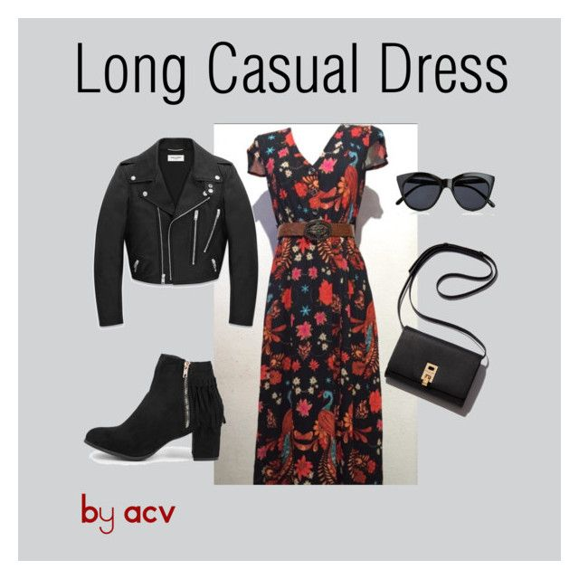"""Long Casual Dress"" by amparo-calbacho on Polyvore featuring moda, Yves Saint Laurent, Boohoo y Le Specs"