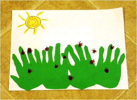 5 little lady bugs craft and poem  use handling grass and fingerprint bugs
